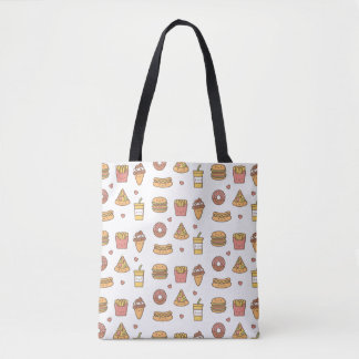 Kawaii Fast Food Doodles Tote Bag