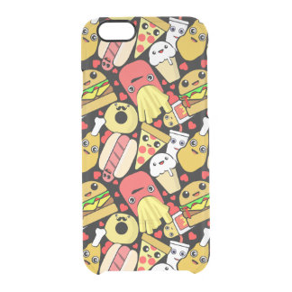 Kawaii Fast Food Pattern Clear iPhone 6/6S Case
