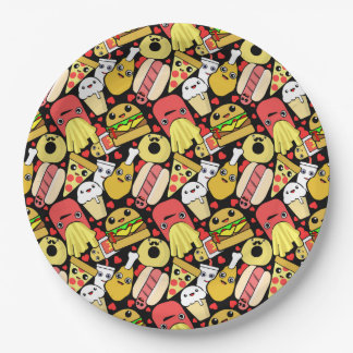 Kawaii Fast Foodie Characters Pattern Paper Plate