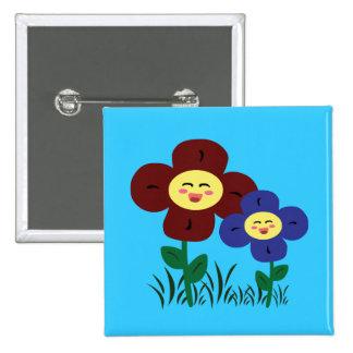 Kawaii Flowers 15 Cm Square Badge