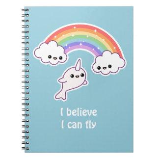 Kawaii Flying Narwhal Spiral Notebook