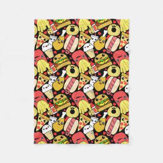 Kawaii Food Characters Pattern Fleece Blanket