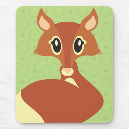Kawaii Fox on Green Background Mouse Pad