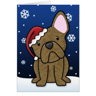 Kawaii French Bulldog Christmas Card (Brindle)