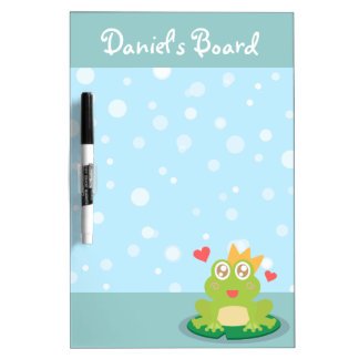 Kawaii frog with sparkling eyes on a lily pad dry erase boards