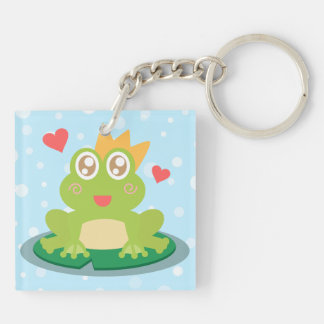 Kawaii frog with sparkling eyes on a lily pad Double-Sided square acrylic keychain