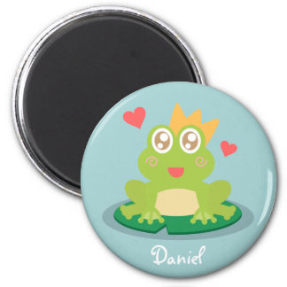 Kawaii frog with sparkling eyes on a lily pad 6 cm round magnet