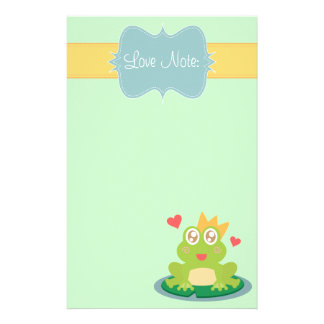 Kawaii frog with sparkling eyes on a lily pad stationery