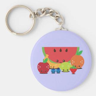 Kawaii Fruit Group Basic Round Button Key Ring