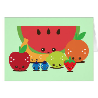 Kawaii Fruit Group Card