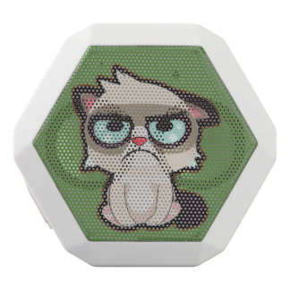 Kawaii, fun and funny grimmy cat boombot rex white bluetooth speaker