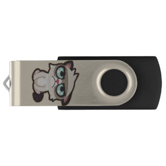 Kawaii, fun and funny grimmy cat Disk-On-Key USB Flash Drive
