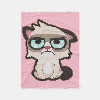 Kawaii, fun and funny grimmy cat fleece blanket