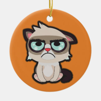 Kawaii, fun and funny grimmy cat round ornamnet christmas ornament
