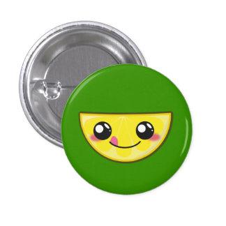 Kawaii, fun and funny lemon round button