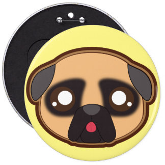 Kawaii funny pug round button