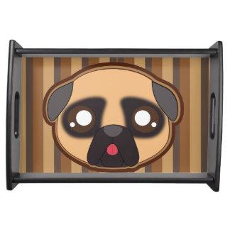 Kawaii funny pug serving tray