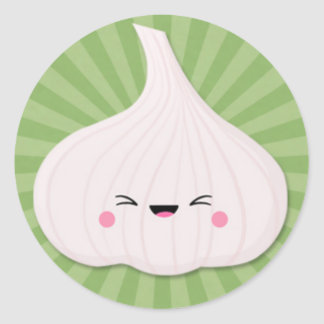 Kawaii Garlic Bulb on Green Starburst Classic Round Sticker