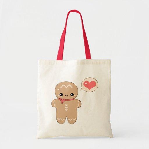 Kawaii Gingerbread Man Tote Bags