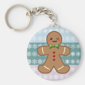 Kawaii Gingerbread Man & Snowflakes Basic Round Button Key Ring