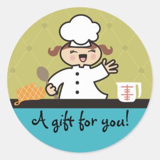 Kawaii girl chef kids cooking gift tag stickers