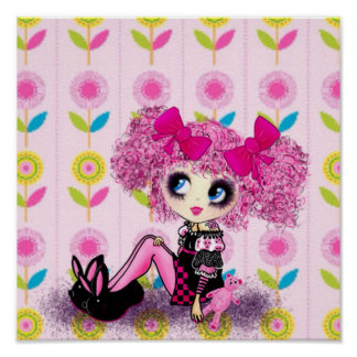 Kawaii Girl PinkyP sweet 16 personalized Posters
