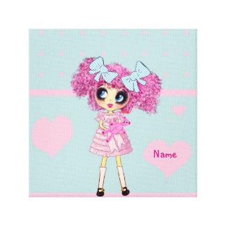 Kawaii Girl PinkyP teen bedroom decor personalized Gallery Wrap Canvas