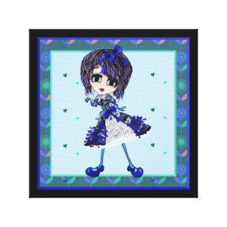 Kawaii Girl Saphire blue lolita Canvas Print