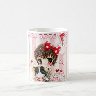 Kawaii girl with cat mug