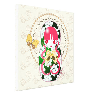 Kawaii Gold Bow and Flowers Matryoshka Gallery Wrapped Canvas