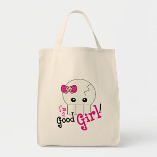 Kawaii Good Girl Cute Skeleton Grocery Tote Bag