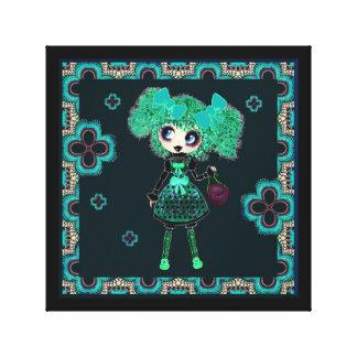 Kawaii Goth Girl Emerald Lolita PinkyP Canvas Prints