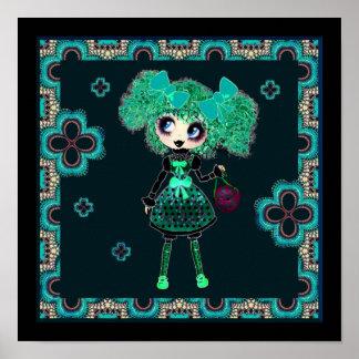 Kawaii Goth Girl Emerald Lolita PinkyP Poster