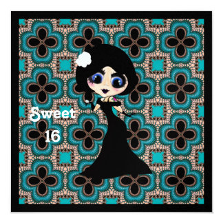 Kawaii Gothic Lolita ArtDeco girl 13 Cm X 13 Cm Square Invitation Card