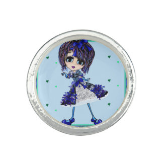 Kawaii Gothic Lolita Gothloli Blue PinkyP Rings