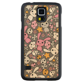 kawaii gray pattern carved maple galaxy s5 case