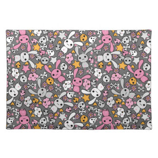 kawaii gray pattern placemat