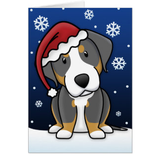 Kawaii Greater Swiss Mountain Dog Christmas Card