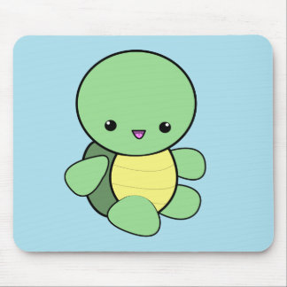 Kawaii green baby turtle mousepad
