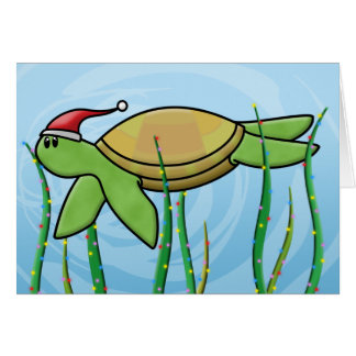 Kawaii Green Sea Turtle Christmas Card