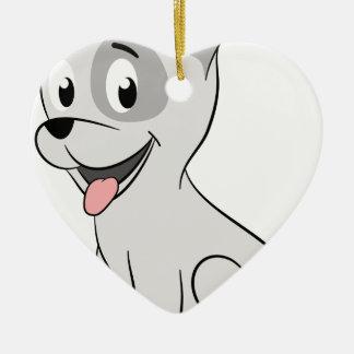 Kawaii grey puppy ceramic heart decoration