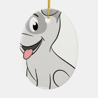 Kawaii grey puppy ceramic oval decoration