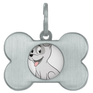 Kawaii grey puppy pet name tag