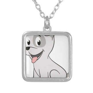 Kawaii grey puppy square pendant necklace