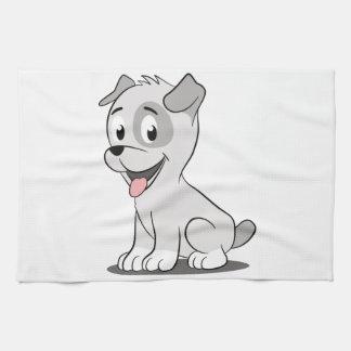 Kawaii grey puppy tea towel