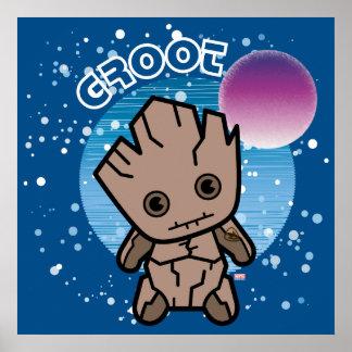 Kawaii Groot In Space Poster