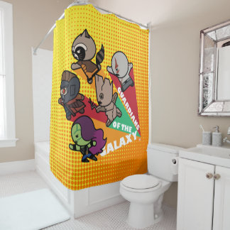 Kawaii Guardians of the Galaxy Group Jump Shower Curtain