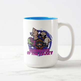 Kawaii Guardians of the Galaxy Swirl Graphic Two-Tone Coffee Mug