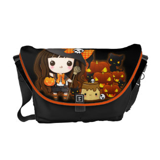 Kawaii halloween girl with pumpkins and black cats courier bag