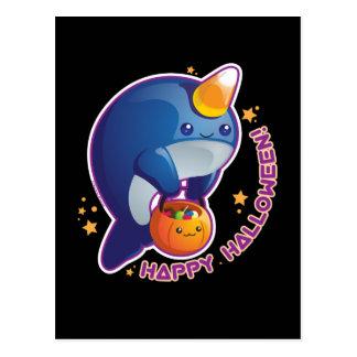 Kawaii Halloween Narwhal Postcard